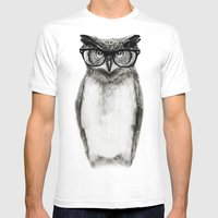 Mr. Owl Mens Fitted Tee White SMALL