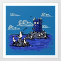 Art Print featuring The Seagulls have the Phonebox by Karen Hallion Illustrations