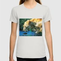Lion Drinking Womens Fitted Tee Silver SMALL