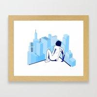 Me against the city Framed Art Print