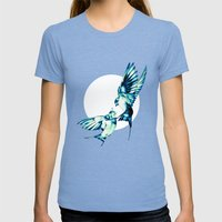 Birds Womens Fitted Tee Tri-Blue SMALL