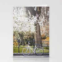The bike and the spring. Stationery Cards