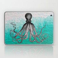 Antique Nautical Steampunk Octopus Vintage Kraken sea monster ombre turquoise blue pastel watercolor Laptop & iPad Skin
