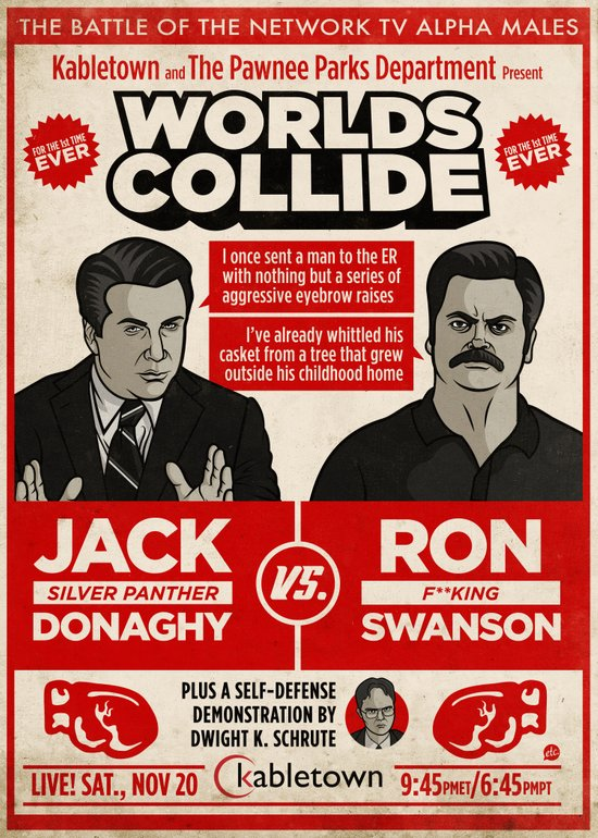 Jack Donaghy vs. Ron Swanson Fight Poster Art Print