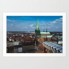 Church in the city Lübeck Germany Art Print