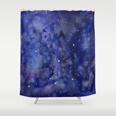 Night Sky Galaxy Stars | Watercolor Space Texture Shower Curtain