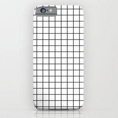 Emmy -- Black and White Grid, black and white, grid, monochrome, minimal grid design cell phone case iPhone 6 Slim Case