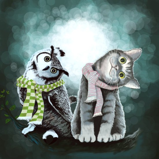 Cat and Owl Art Print