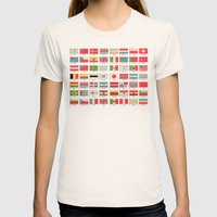 Vintage World Flags Womens Fitted Tee Natural SMALL