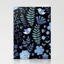 Vintage floral pattern on a black background Stationery Cards