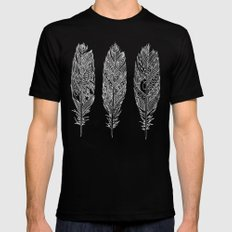Patterned Plumes - White Mens Fitted Tee Black SMALL