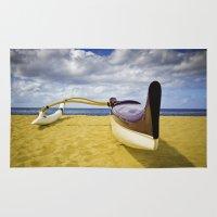Outrigger Canoe On Beach Rug