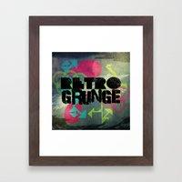Abstract373 Retro Grunge Framed Art Print