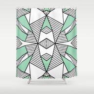 Shower Curtain featuring Triangle Tribal Mint by Project M