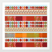 Red Pattern With Dots Art Print