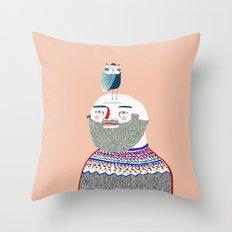 Man and Owl.  Throw Pillow