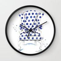 Blue Polka Dot Chair Wall Clock