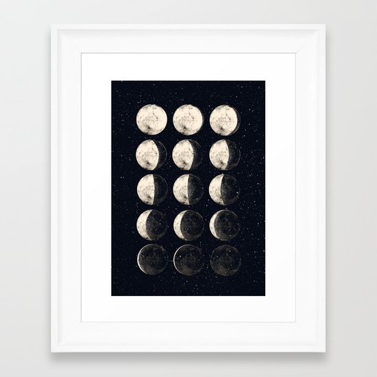 moon cycle Framed Art Print