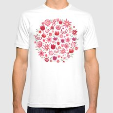 Summer Flowers SMALL Mens Fitted Tee White