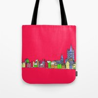Sketchy Town in pink Tote Bag