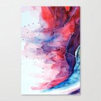 Watercolor Magenta & Cya… Canvas Print