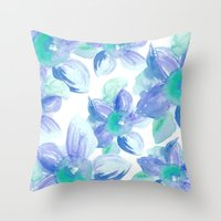 Turquoise Florals Throw Pillow
