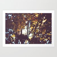 Autumn Leaves, Lamp Post Art Print