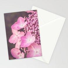 Botanical Pink Rose Purple Lace Cap Hydrangea Flower Stationery Cards