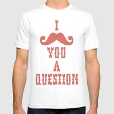I mustache you a question White SMALL Mens Fitted Tee