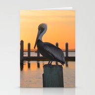 Sunset Pelican Stationery Cards