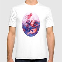 Red Coral Mermaid Mens Fitted Tee White SMALL
