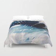 Meteor Shower - an abstract acrylic piece in blue and white Duvet Cover