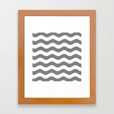Wavy Stripes (Gray/White) Framed Art Print