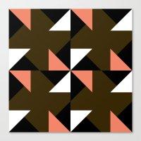 Pink, white & brown triangle motif Canvas Print