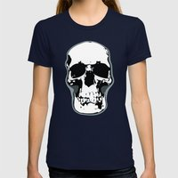 Skull Print Womens Fitted Tee Navy SMALL