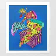 Pizza Eating Pizza - Blu… Art Print