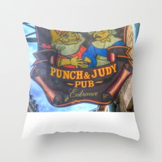 The Punch And Judy Pub Sign Throw Pillow