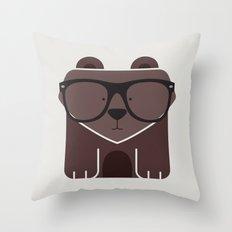 Hipster Bear Art Print Throw Pillow