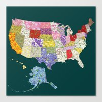 United States in Flowers Canvas Print