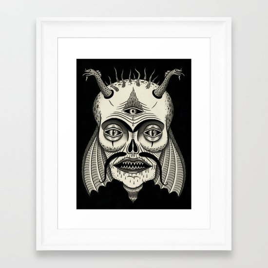 Three-Eyed Skull with Unibrow Framed Art Print