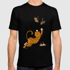 Cat and Mouse SMALL Black Mens Fitted Tee