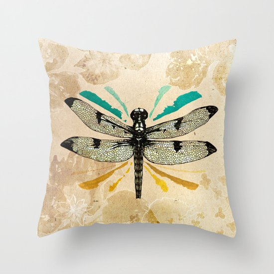 Autumn dragonfly Throw Pillow