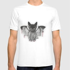 Cat Bat White Mens Fitted Tee SMALL