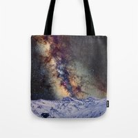 Sagitario, Scorpio and the star Antares over the hight mountains Tote Bag