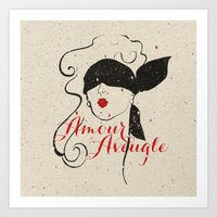 Black Red Vintage French… Art Print