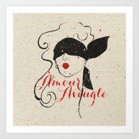 Black Red Vintage French Illustration Woman Sketch Art Print