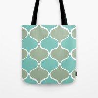 Marrakech Pattern Sea Green Tote Bag