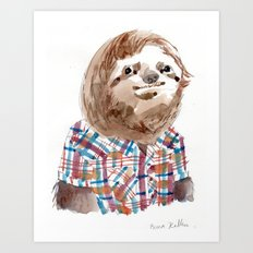 Hipster Sloth Art Print