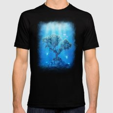 Underwater Tree Mens Fitted Tee Black SMALL