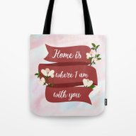 Home Is - In Red Tote Bag